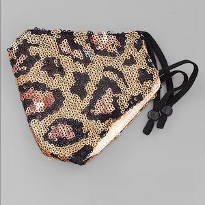Leopard Sequin Rosegold/Gold Fashion Mask